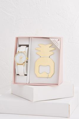 pineapple watch and bottle opener set