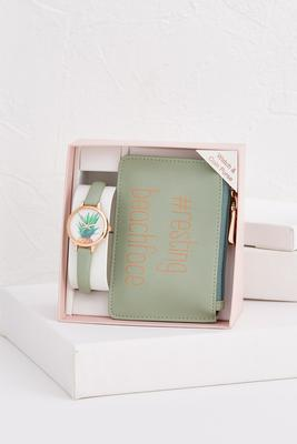 resting beach face watch and pouch set