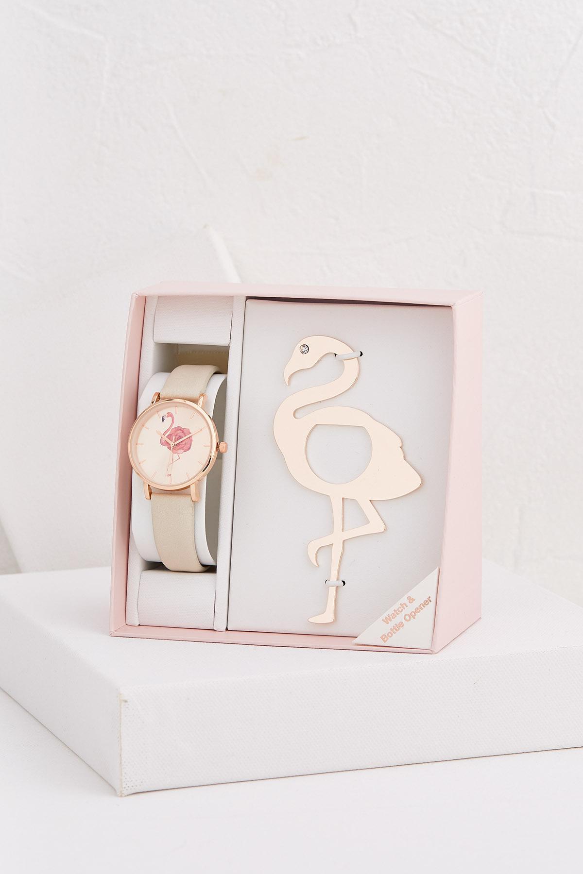 Flamingo Watch And Bottle Opener Set