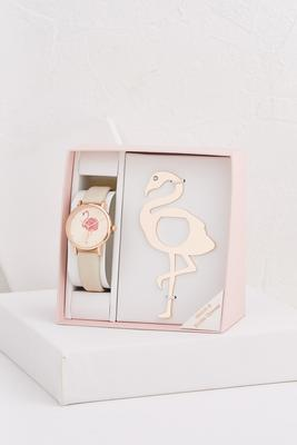 flamingo watch and bottle opener set