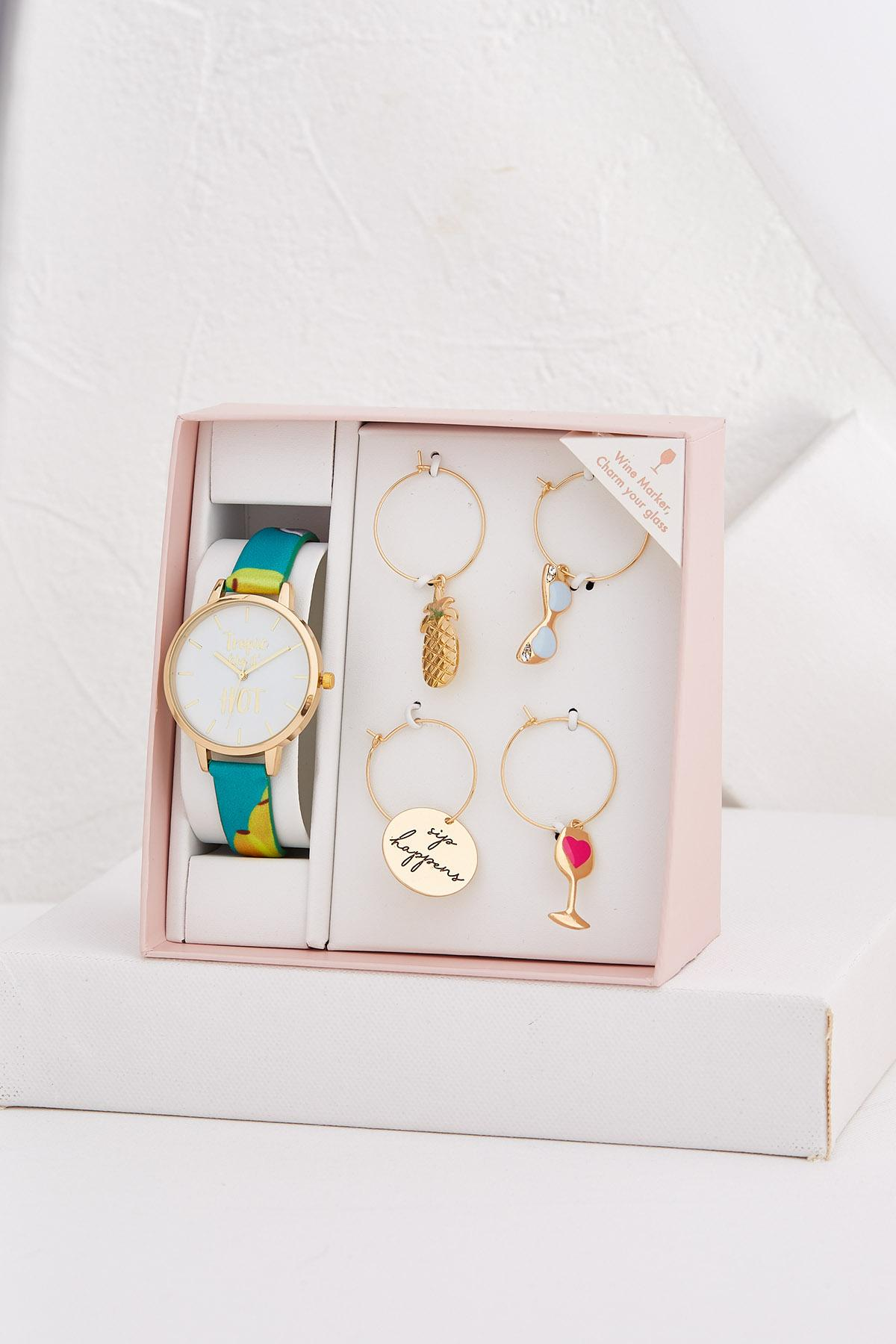 Tropical Watch And Wine Charm Set