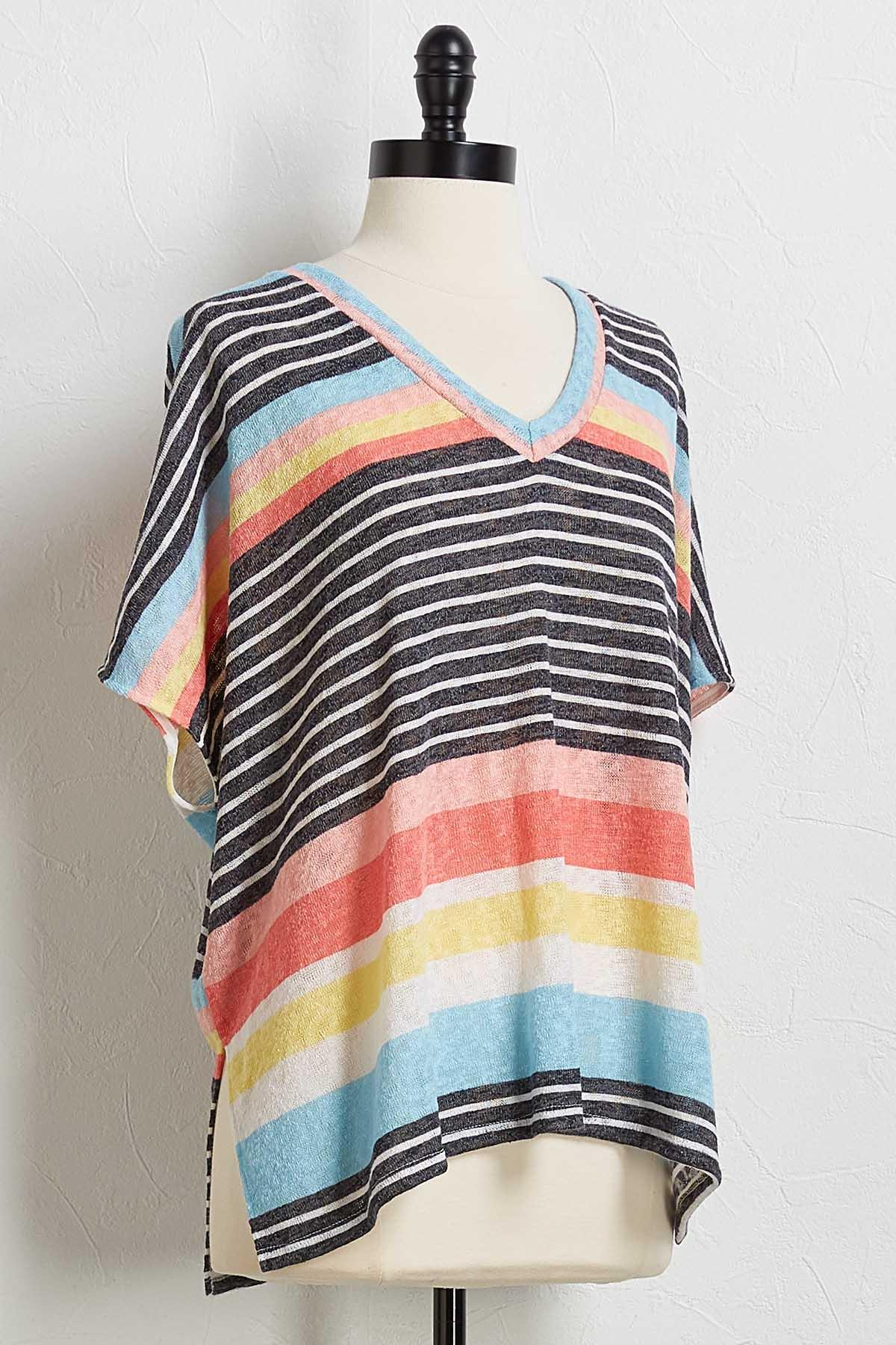 Multi Stripe Hacci Top