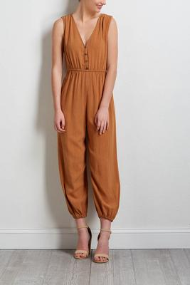 caramel button front jumpsuit