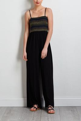 smocked knit jumpsuit