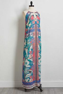tropical mirror print maxi dress