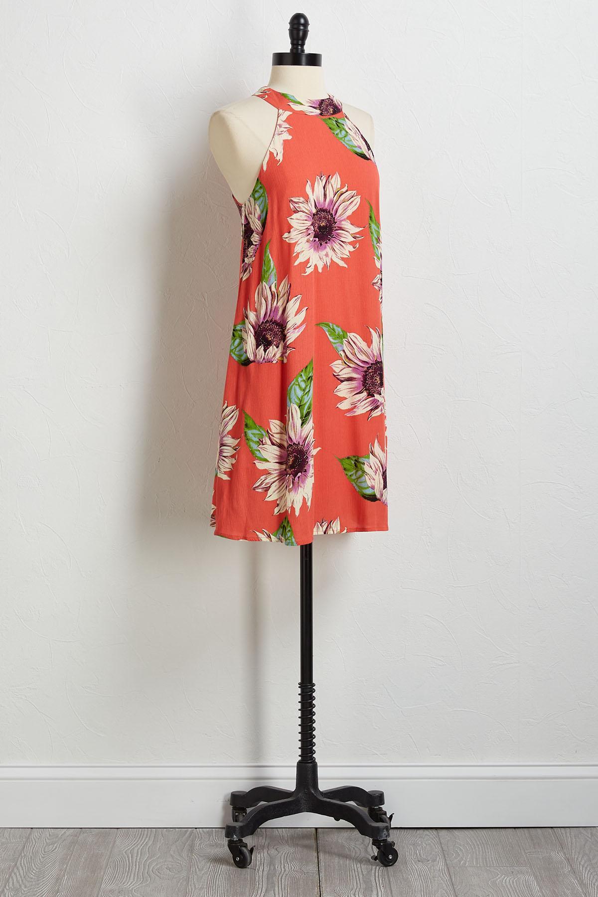 Sunflower Mock Neck Shift Dress