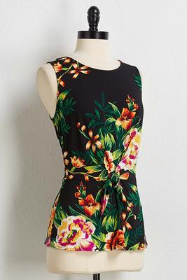 tropical floral peplum top