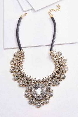 statement stone cord necklace