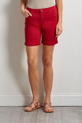 red twill bermuda shorts