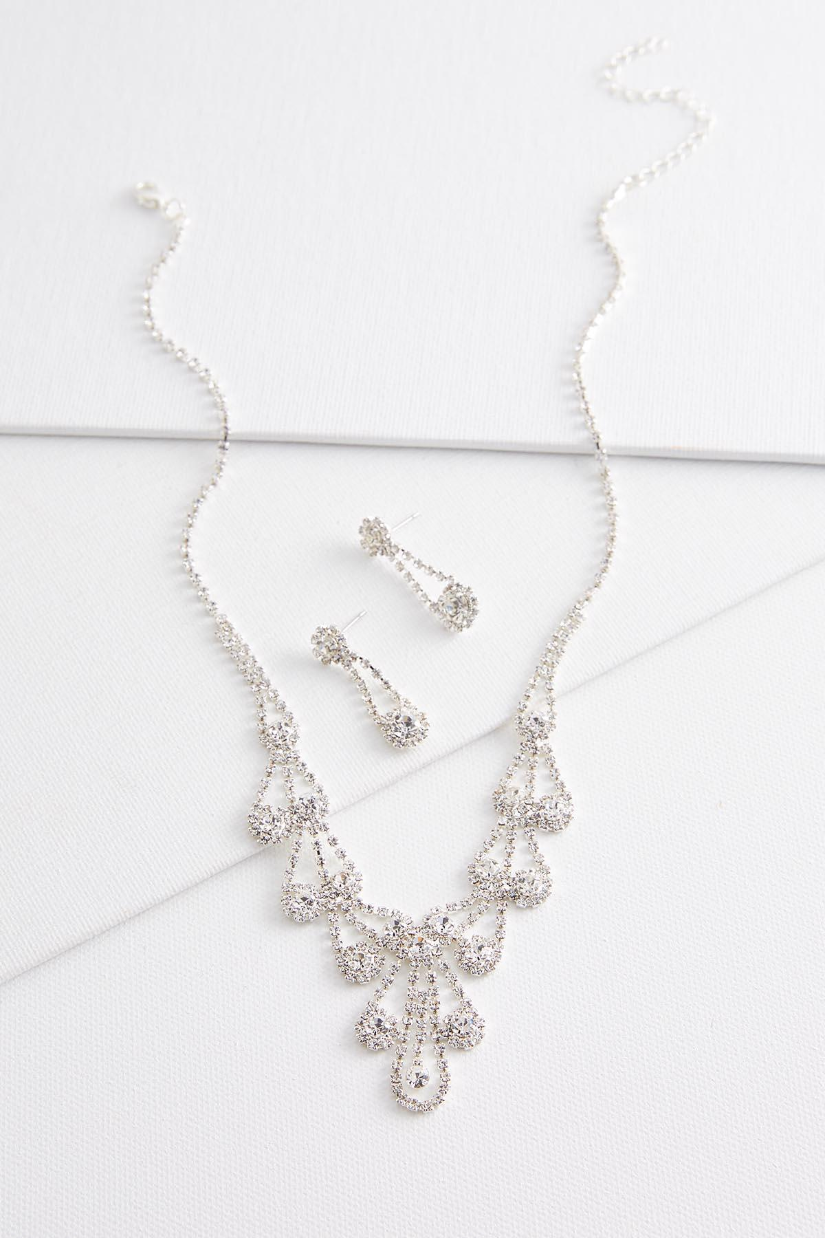 Halo Stone Bib And Earrings Set
