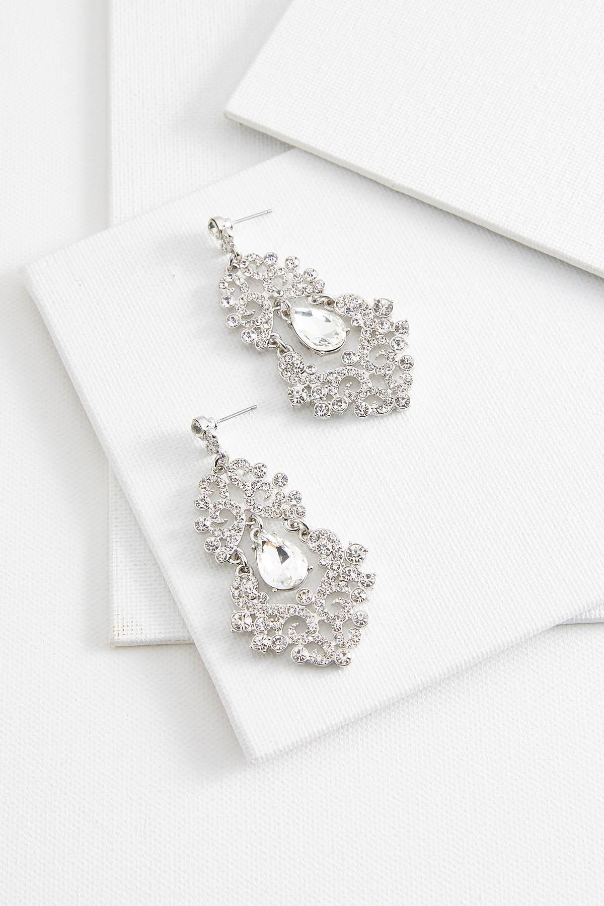 Filigree Stone Chandelier Earrings