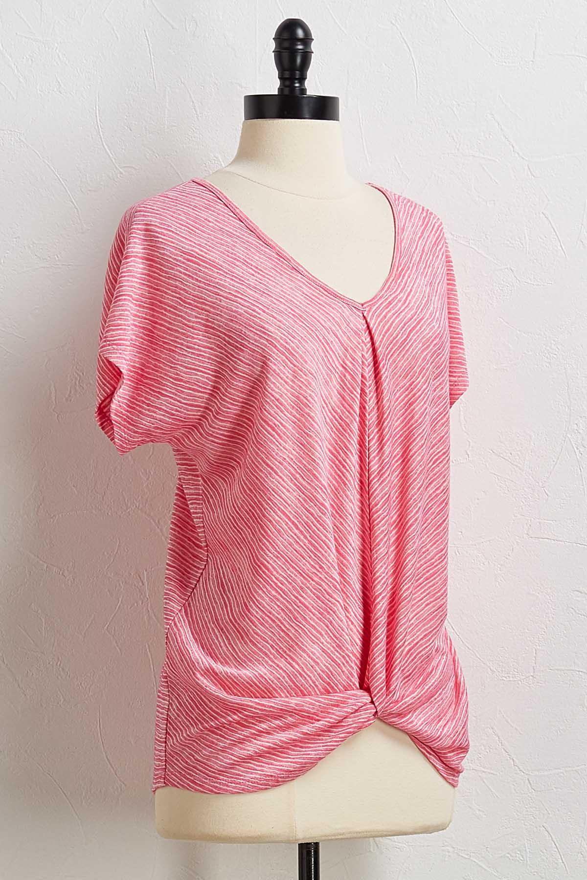 Pink Mitered Stripe Top