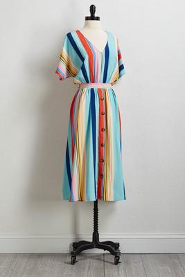 button stripe midi dress