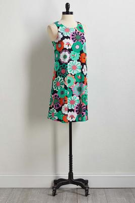 floral textured print shift dress