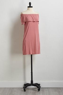 stripe off the shoulder dress