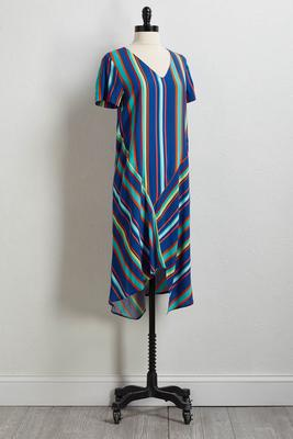rainbow stripe v-neck dress