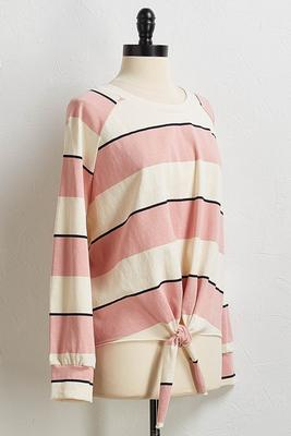 striped knotted sweatshirt