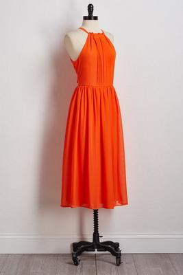 orange pleated midi dress