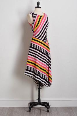 stripe crepe fit and flare dress