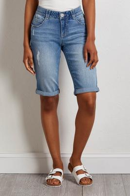 slimming denim bermuda shorts