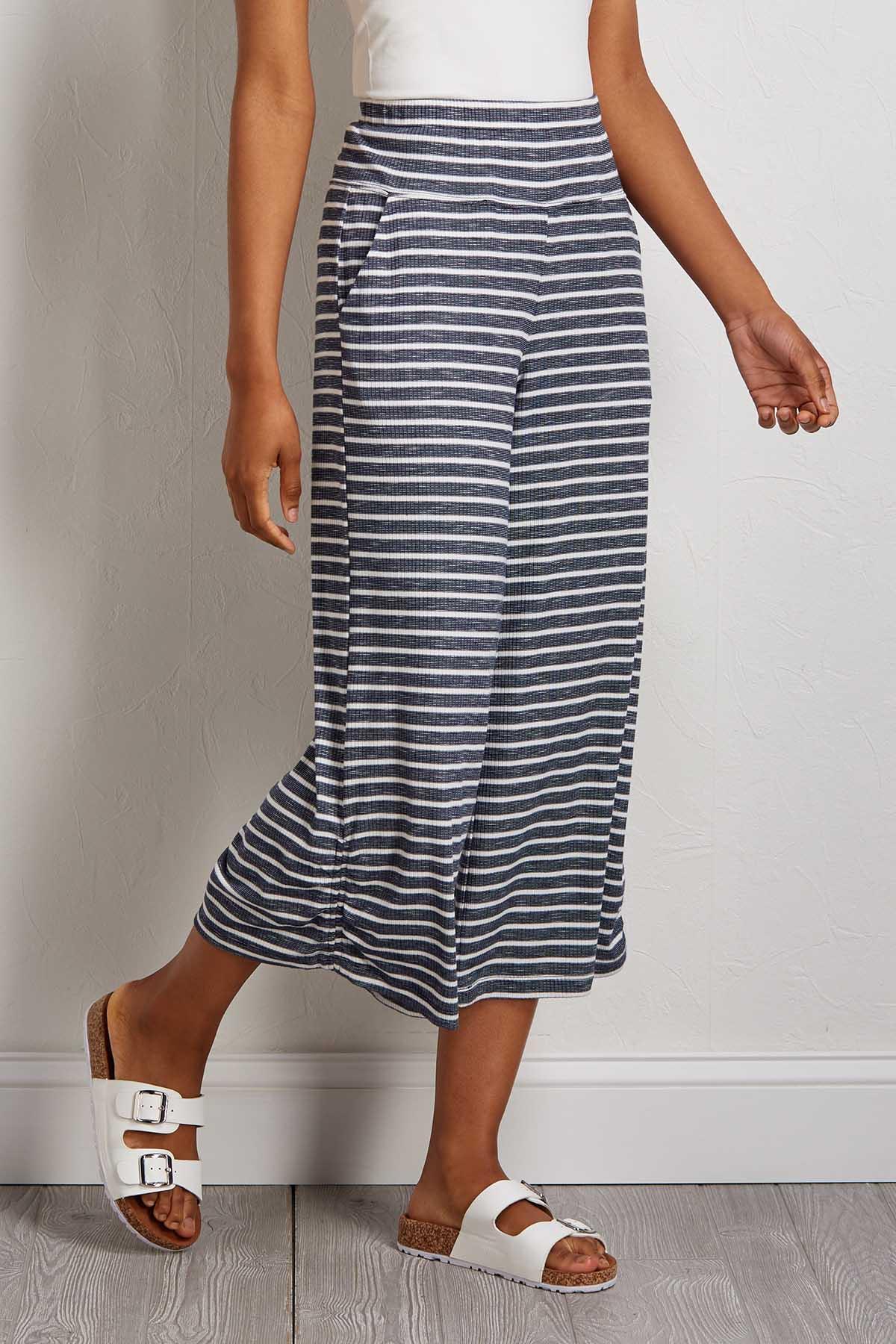 Cropped Striped Pants