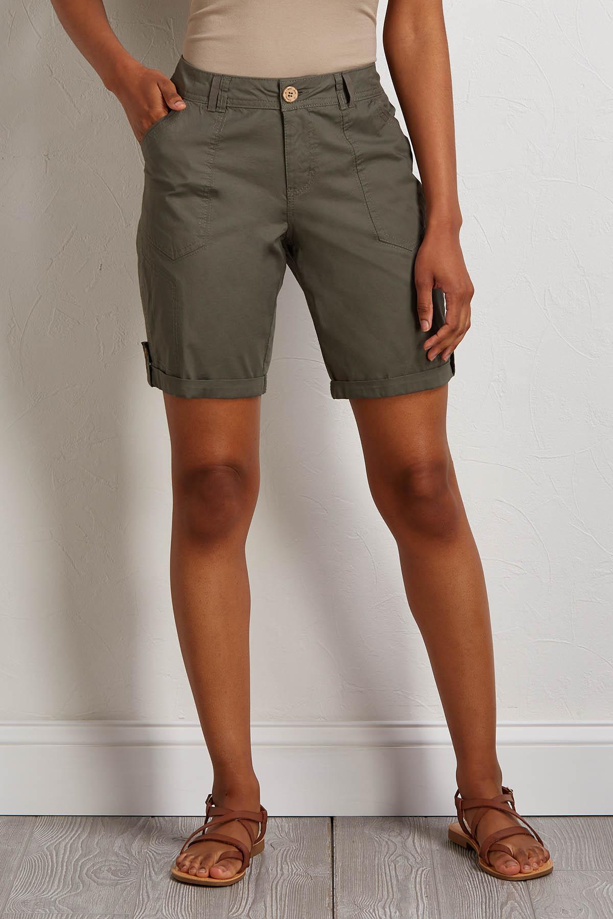 Olive Poplin Bermuda Shorts