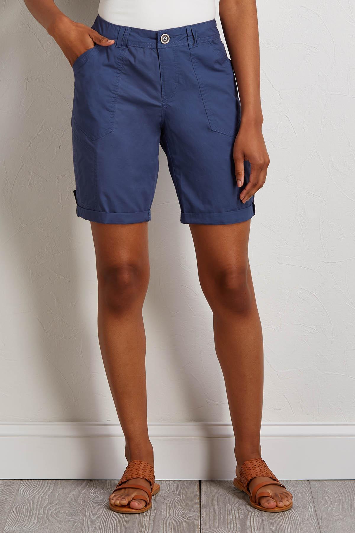 Blue Poplin Bermuda Shorts