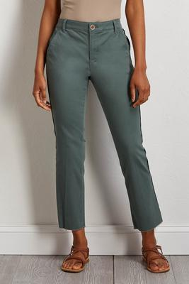 teal frayed kick flare pants