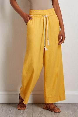 golden linen palazzo pants