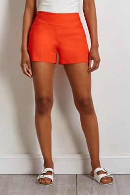 orange pull-on shorts