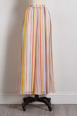 crepe stripe maxi skirt
