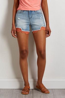 distressed lace trim shorts