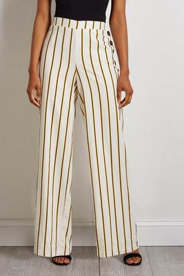 gold stripe linen pants