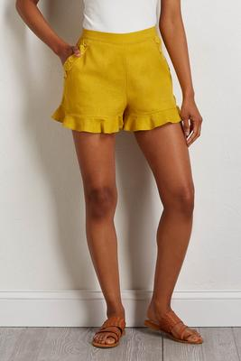 gold ruffled shorts