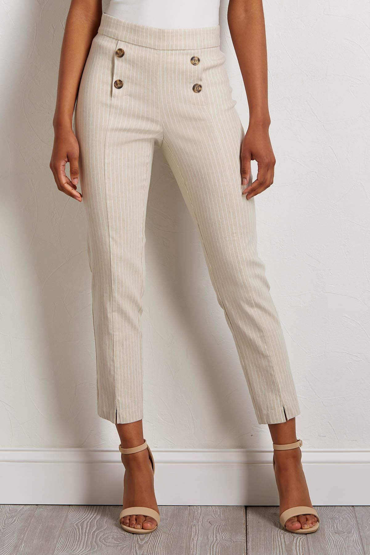 Striped Button Front Linen Pants