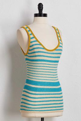 striped color border sweater tank