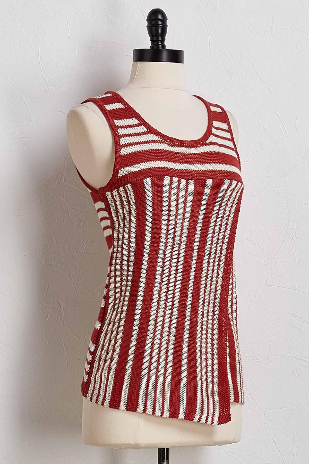 Stripe Split Front Sweater Tank
