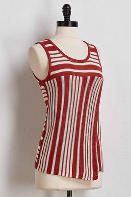 stripe split front sweater tank