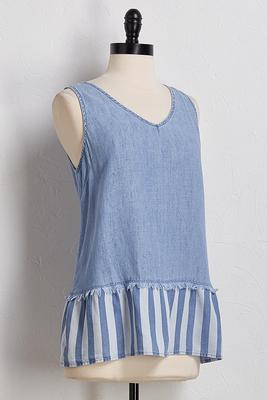 chambray fringed stripe tank