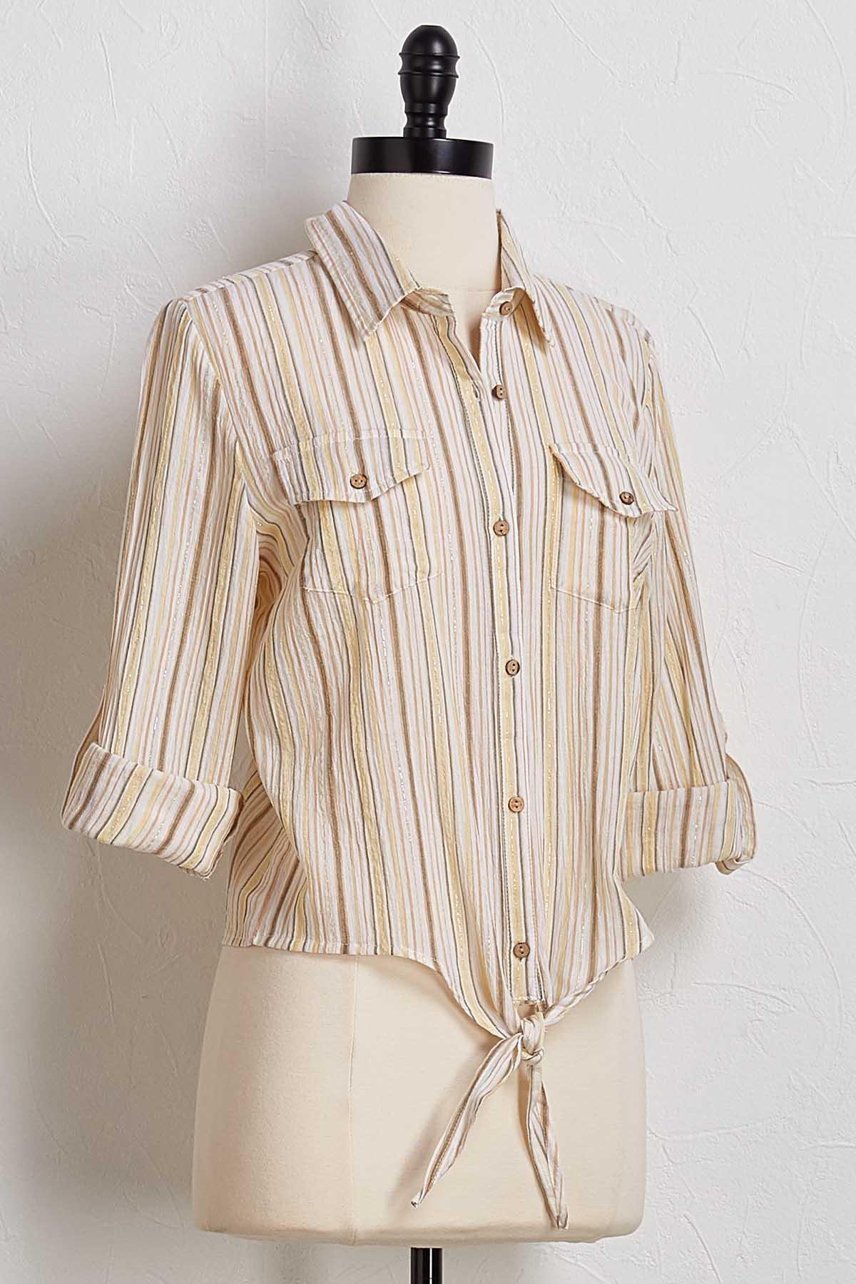 Golden Metallic Stripe Shirt