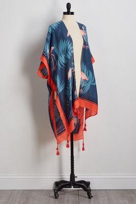 flamingo and palms kimono