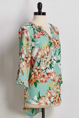 aqua floral pullover top