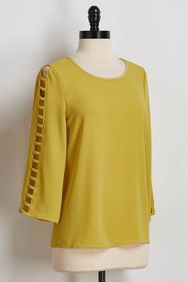 chartreuse ladder sleeve top
