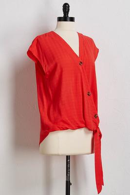 scarlet button tie waist top