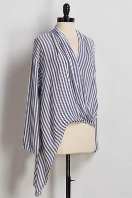 stripe knotted high-low top