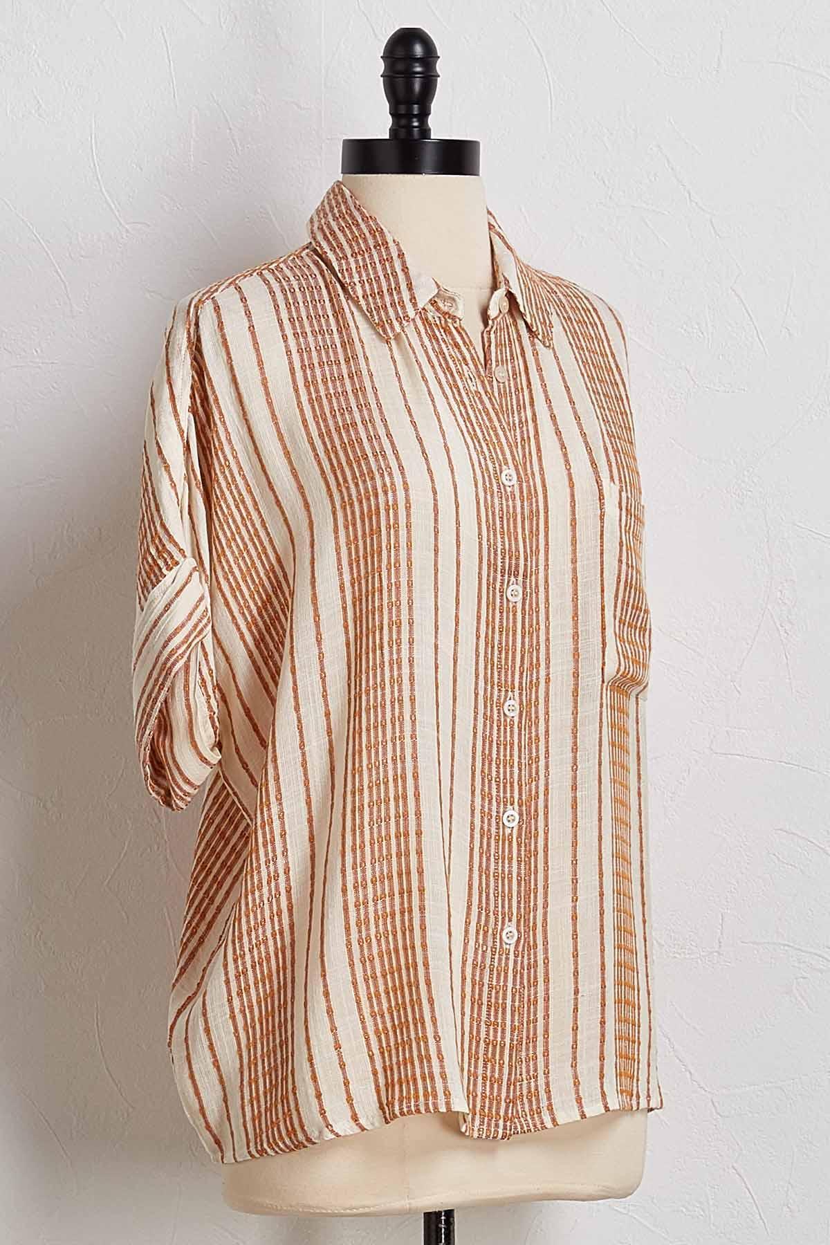 Textured Stripe High- Low Shirt