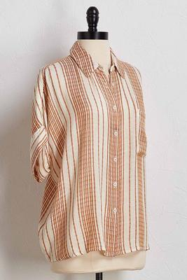 textured stripe high-low shirt