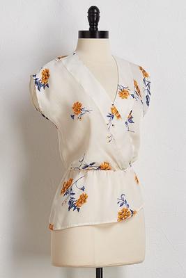 silky floral peplum top