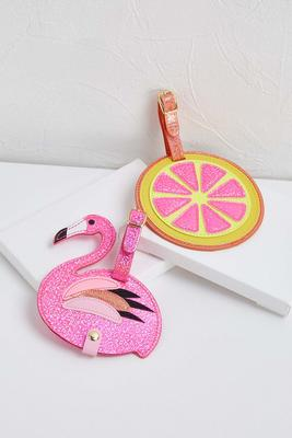 flamingo citrus luggage tags