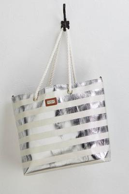 metallic stripe beach tote